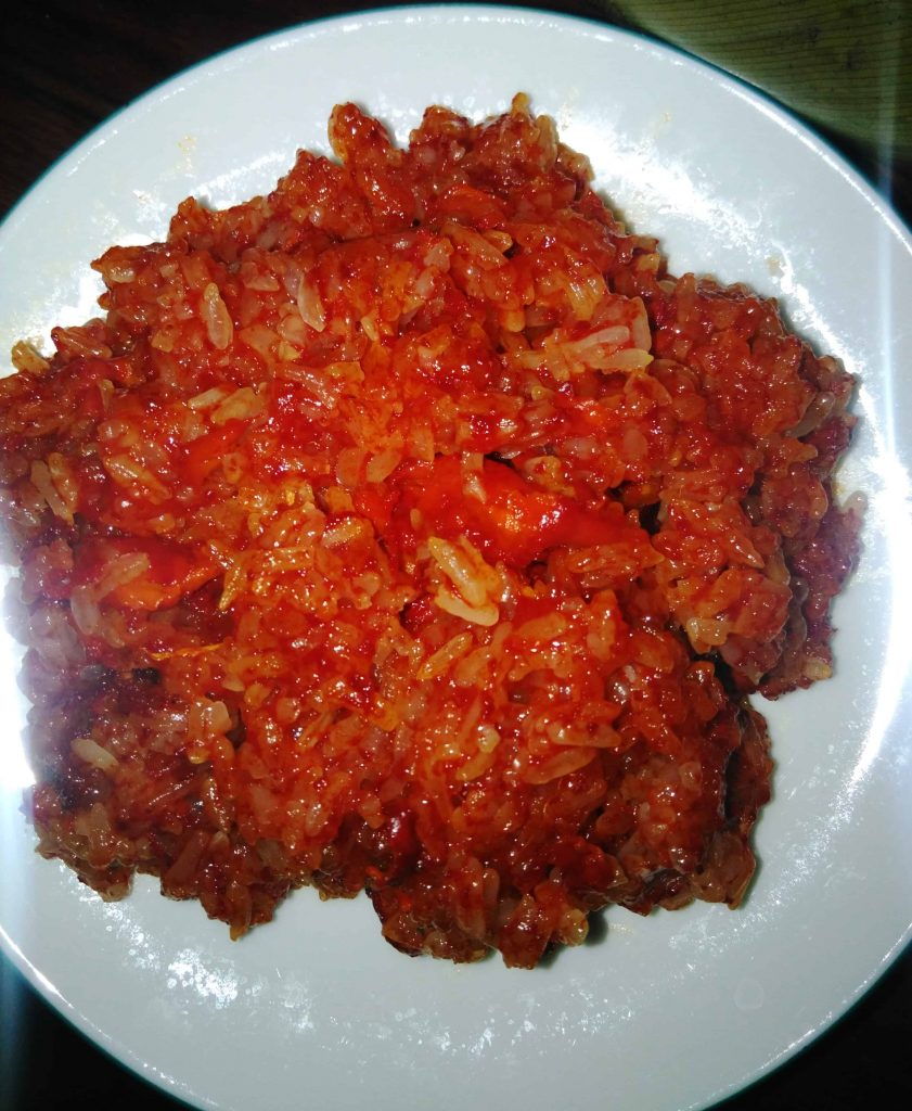 Xoi is a sticky red rice, best served hot