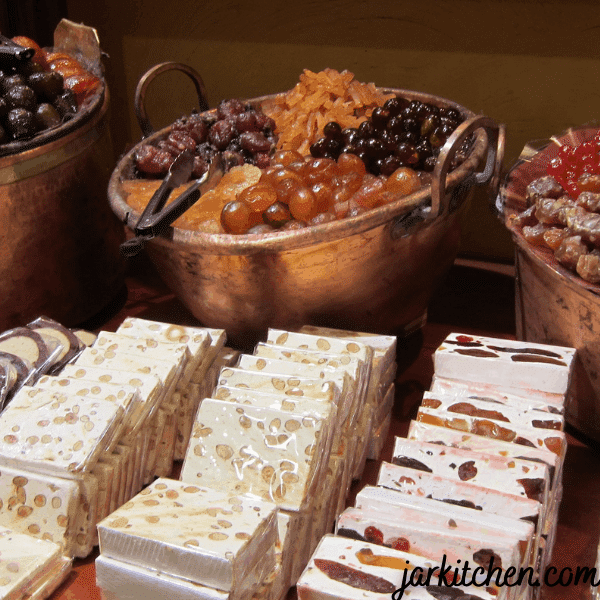 Nougat is mostly used in chocolate bars and cakes. Is chewy and sweet.