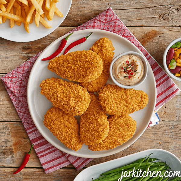 Glorious chicken nuggets, they are crisp and golden. Just like how they should be.